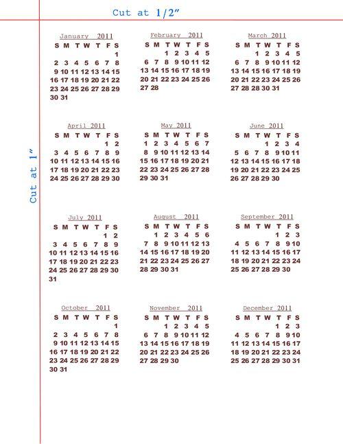 2011 mini calendar cut