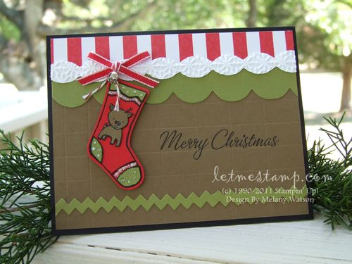 Reindeer Stocking Card by Melany Watson