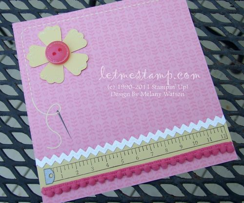 Sweet Stitches Pink 6x6 by Melany Watson