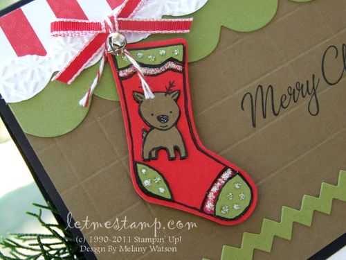 Reindeer Stocking Card CU by Melany Watson